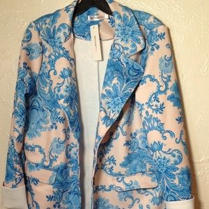 Jackets & Blazers - NWT Women's Blue & Cream Coat Size Large